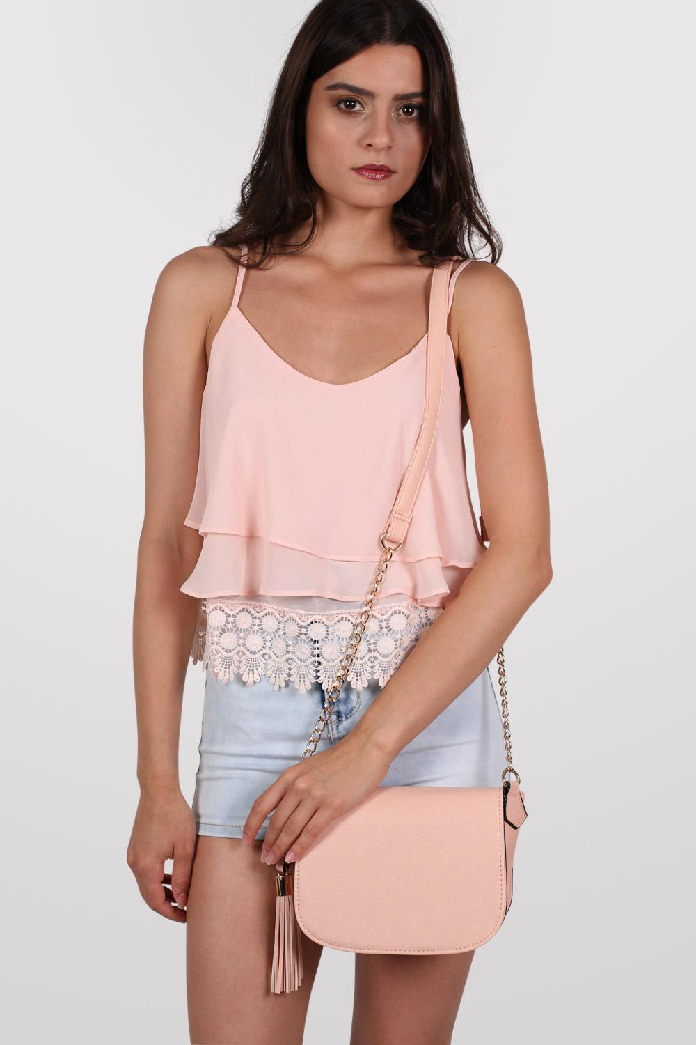 Tassel Detail Saddle Shoulder Bag in Nude 0