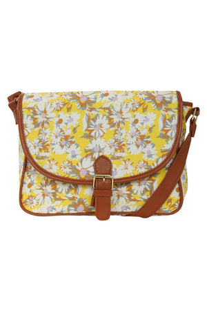Daisy Print Satchel in Yellow 2