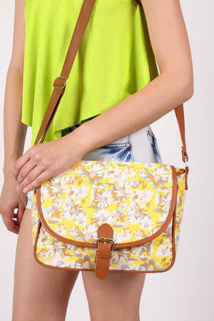 Daisy Print Satchel in Yellow 1
