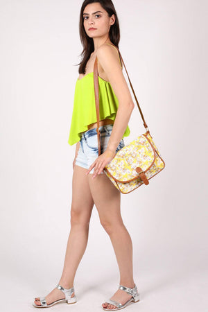 Daisy Print Satchel in Yellow 3
