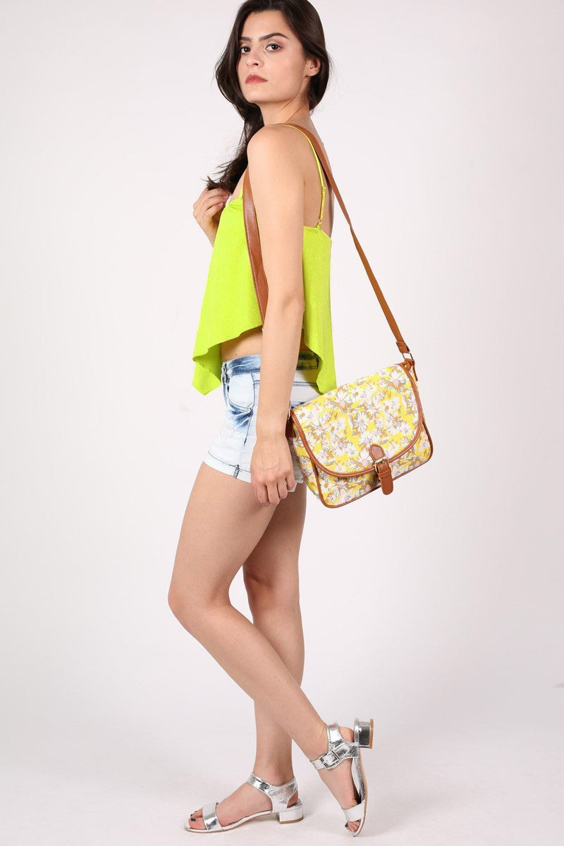 Daisy Print Satchel in Yellow 4