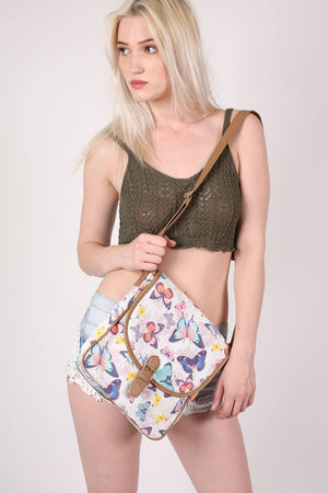 Butterfly Print Cross Body Messenger Bag MODEL FRONT