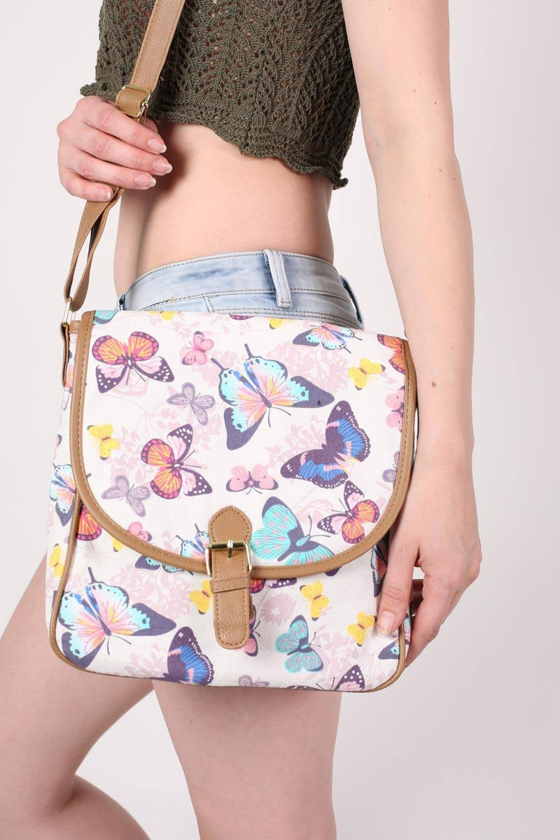 Butterfly Print Cross Body Messenger Bag MODEL SIDE