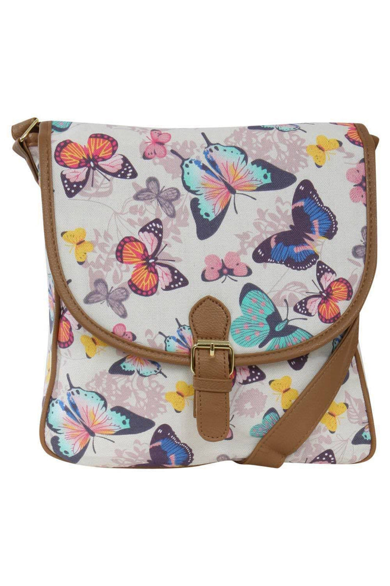 Butterfly Print Cross Body Messenger Bag FRONT