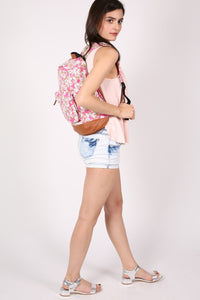 Daisy Print Backpack in Magenta Pink 4