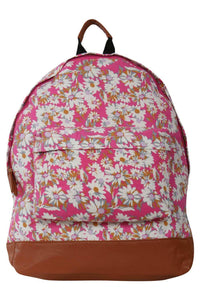 Daisy Print Backpack in Magenta Pink 2