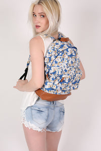 Daisy Print Back Pack in Royal Blue 1