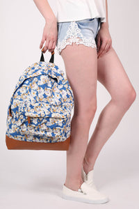 Daisy Print Back Pack in Royal Blue 2