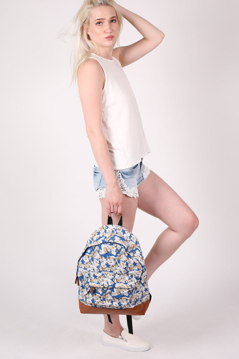 Daisy Print Back Pack in Royal Blue 3