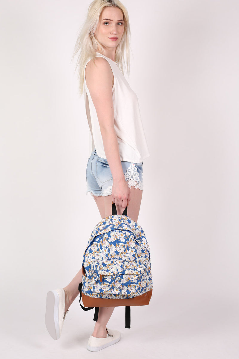 Daisy Print Back Pack in Royal Blue 4