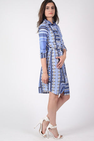 Crepe Geometric Print Belted Shirt Dress in Blue 1