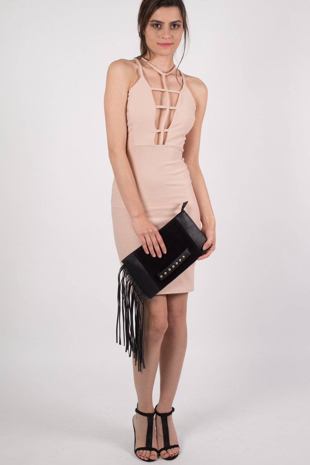 Caged Front Bodycon Dress in Nude 0