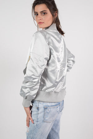 Luxe Satin Bomber Jacket in Silver 3
