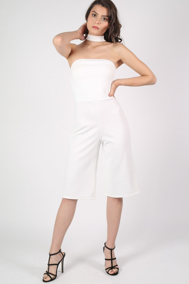 Choker Detail Culotte Jumpsuit in Cream 1