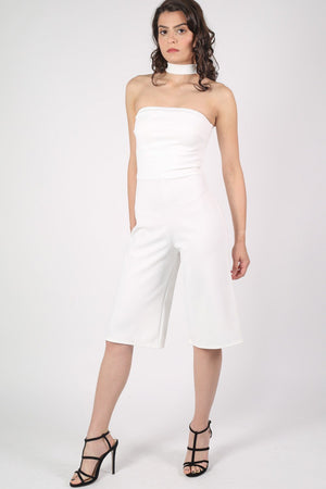 Choker Detail Culotte Jumpsuit in Cream 2