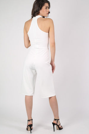 Choker Detail Culotte Jumpsuit in Cream 3