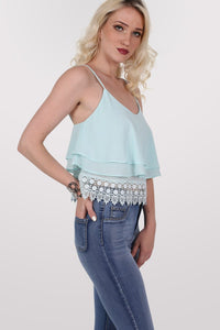 Crochet Trim Layer Cami Top in Mint Green MODEL SIDE