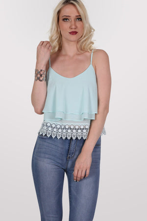Crochet Trim Layer Cami Top in Mint Green MODEL FRONT