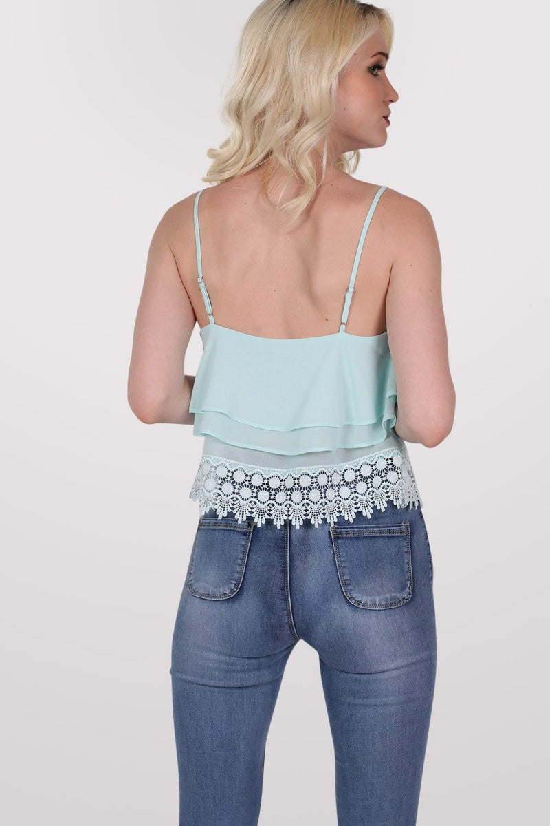 Crochet Trim Layer Cami Top in Mint Green MODEL BACK