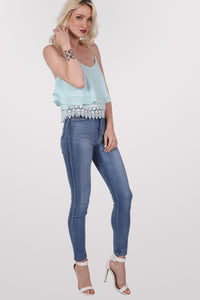 Crochet Trim Layer Cami Top in Mint Green MODEL FRONT 2
