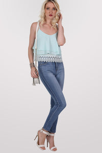 Crochet Trim Layer Cami Top in Mint Green MODEL FRONT 3