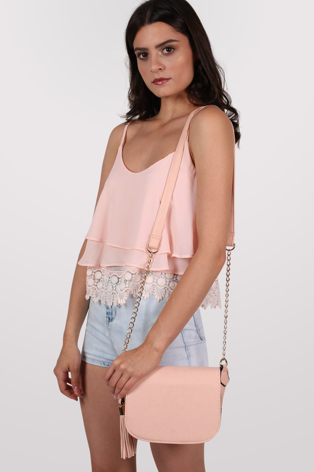 Crochet Trim Layer Cami Top in Dusty Pink MODEL SIDE