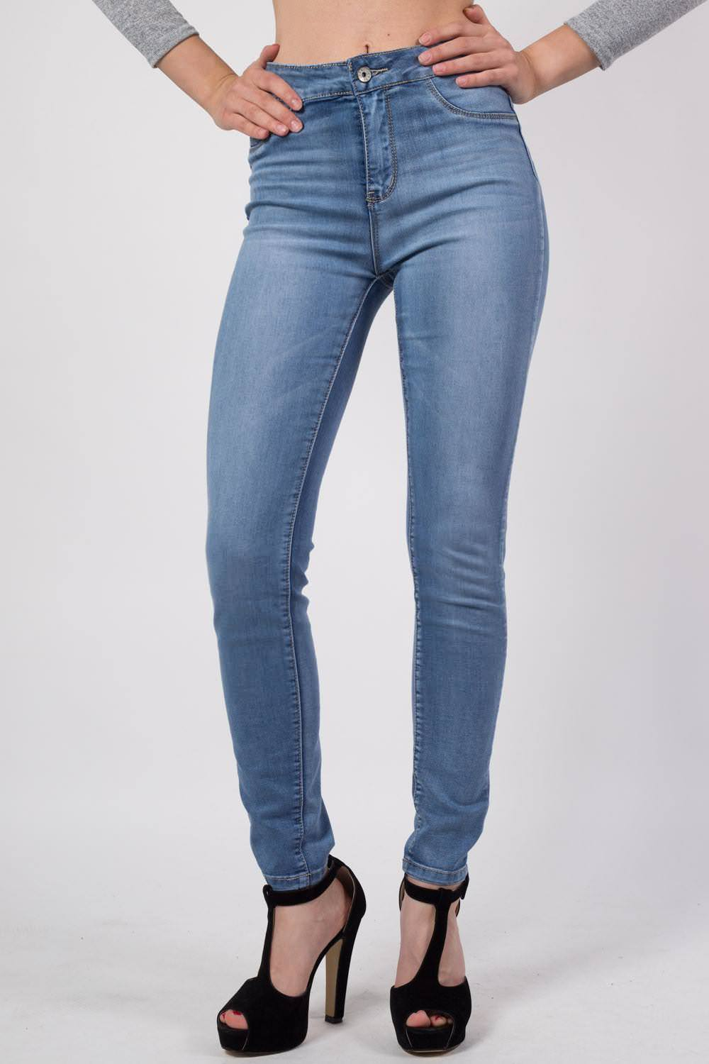 High Waisted Skinny Jeans in Denim MODEL FRONT 2