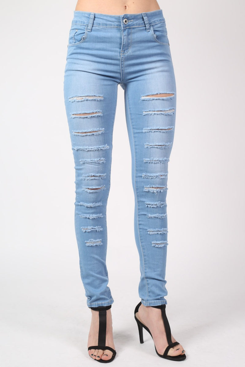 Mid Rise Multi Rip Skinny Jeans in Light Denim MODEL FRONT 2