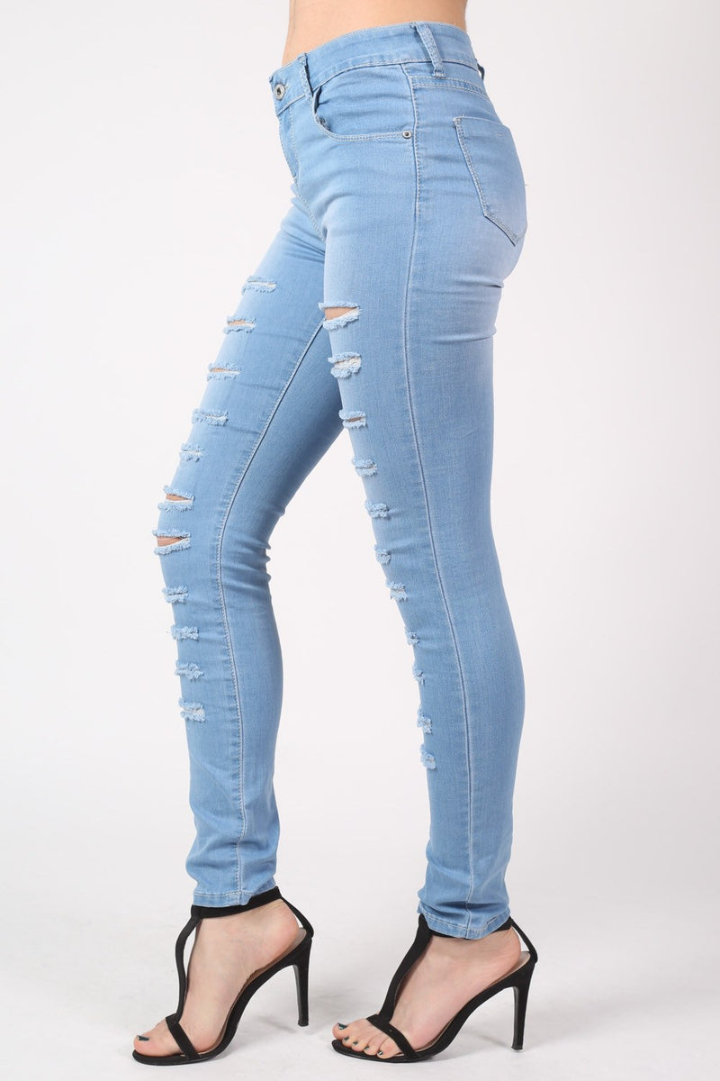 Mid Rise Multi Rip Skinny Jeans in Light Denim MODEL SIDE 2