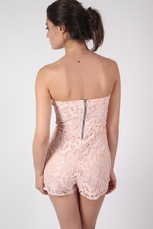 Bandeau Crochet Lace Playsuit in Nude 2