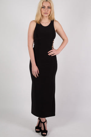 Cut Out Sides Maxi Dress in Black 1