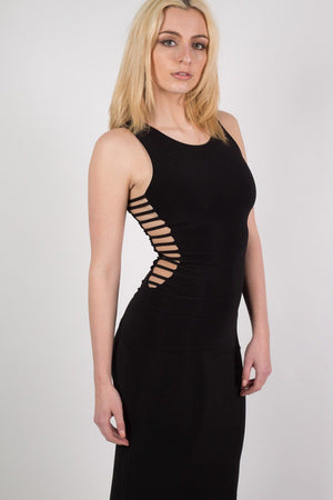 Cut Out Sides Maxi Dress in Black 4