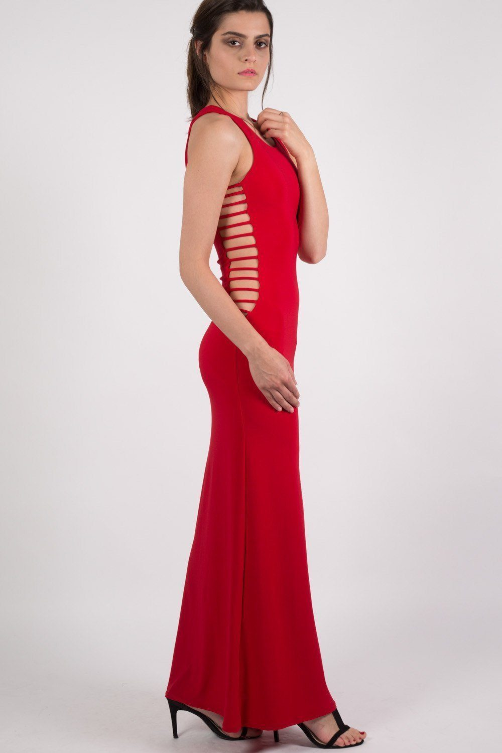 Cut Out Sides Maxi Dress in Red 0