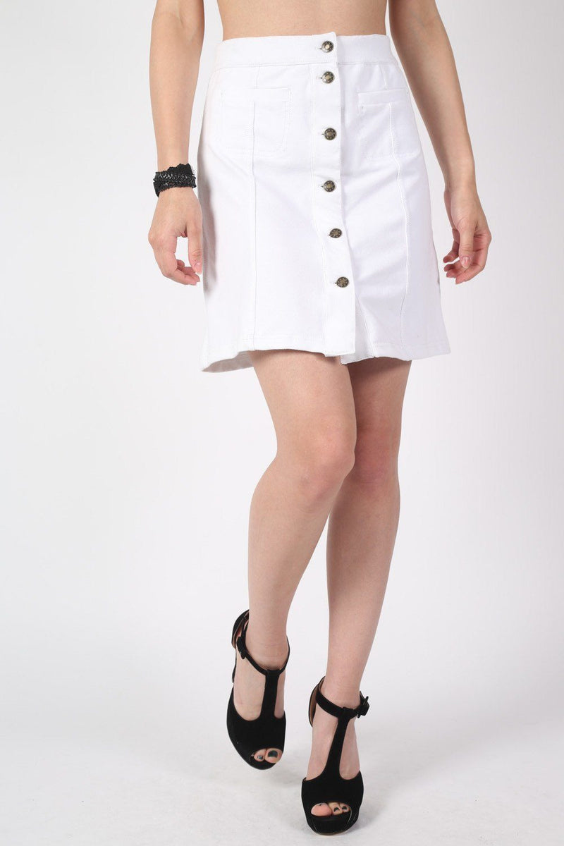 Patch Pocket Button Front Mini Skirt in White 1