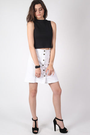 Patch Pocket Button Front Mini Skirt in White 4