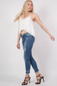 Lace up Front Floaty Camisole Crop Top in White MODEL SIDE 2