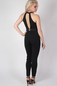 Choker Plunge V Neck Jumpsuit in Black 1