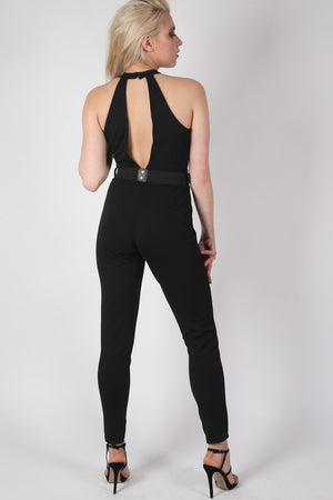 Choker Plunge V Neck Jumpsuit in Black 2