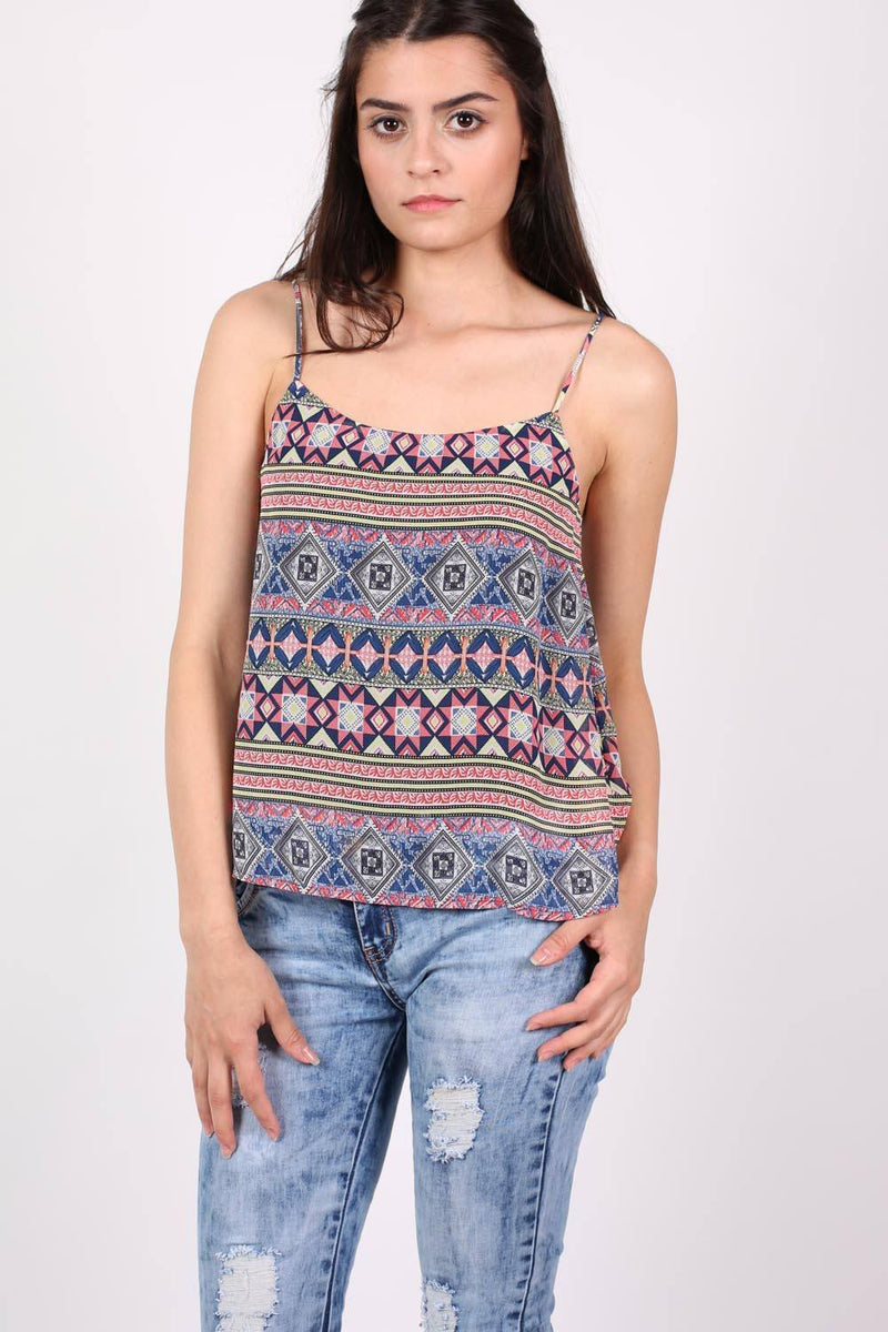 Tribal Print Cami Top in Dusty Blue 0