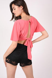 Deep V Neck Tie Back Angel Sleeve Crop Top in Coral 2