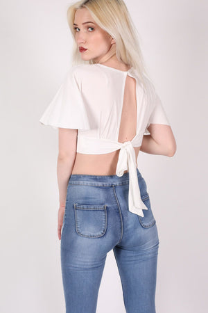 Deep V Neck Tie Back Angel Sleeve Crop Top in Cream 1