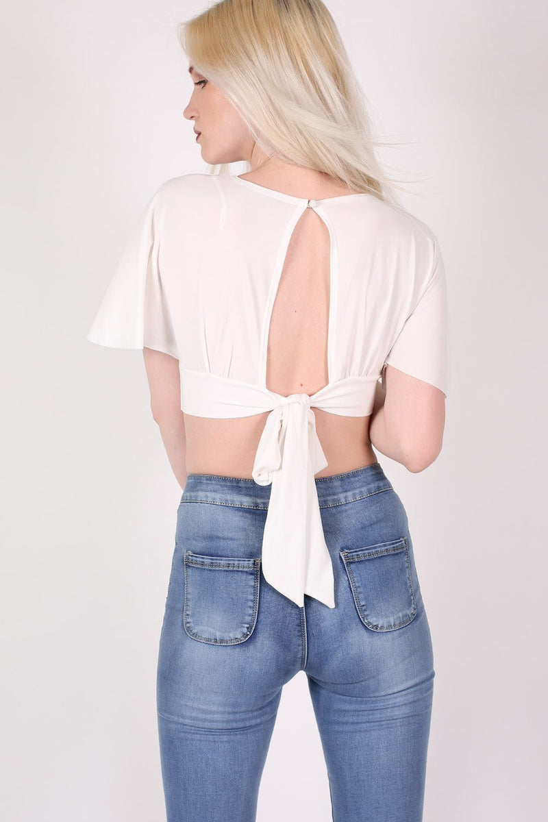 Deep V Neck Tie Back Angel Sleeve Crop Top in Cream 2