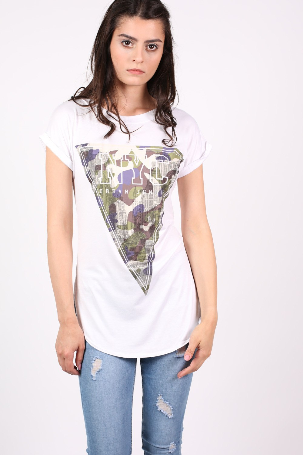 NYC Urban Jungle Print T-Shirt in White MODEL FRONT