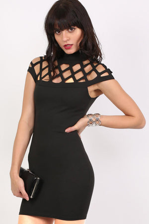 Caged Detail Bodycon Mini Dress in Black 0