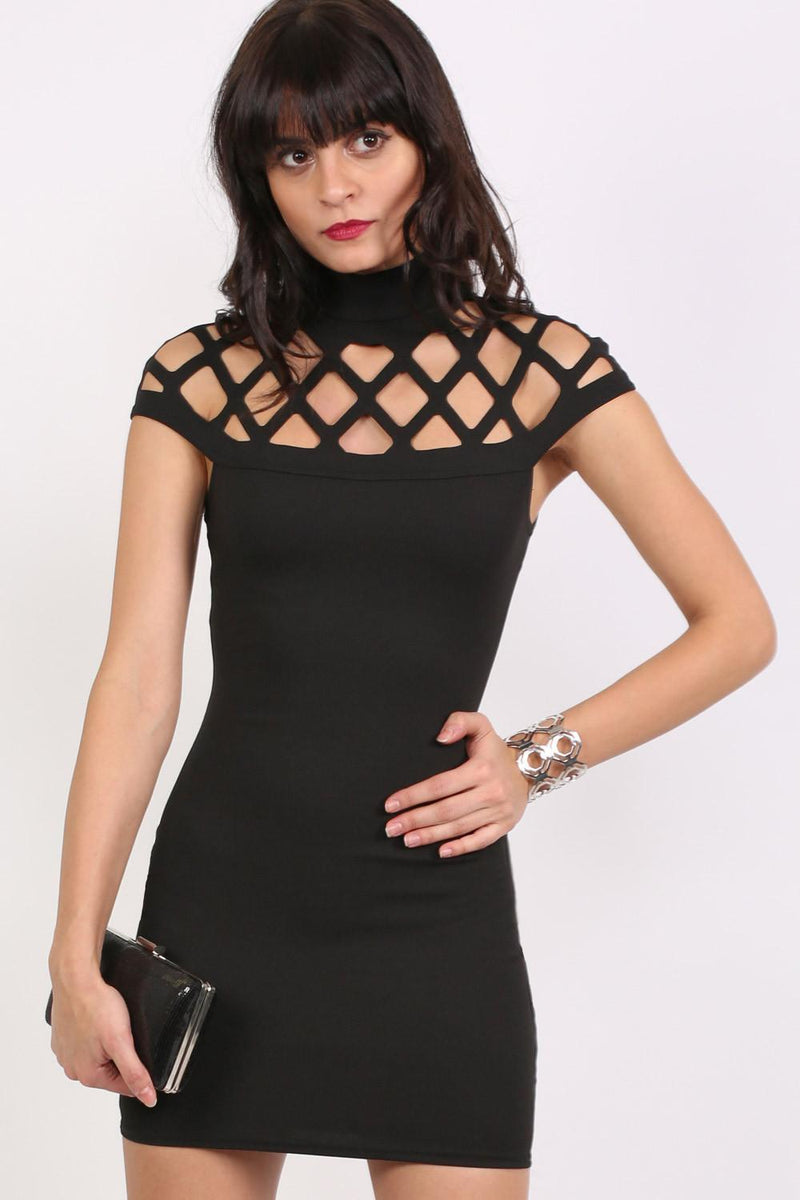 Caged Detail Bodycon Mini Dress in Black 2