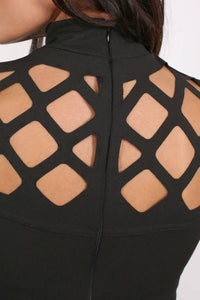 Caged Detail Bodycon Mini Dress in Black 4