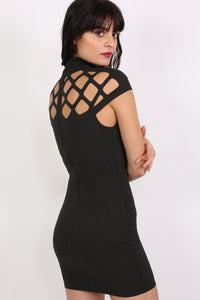 Caged Detail Bodycon Mini Dress in Black 5