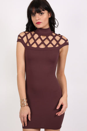Caged Detail Bodycon Mini Dress in Purple 0