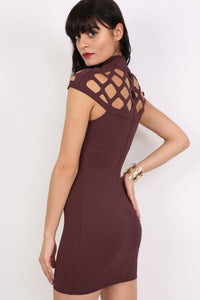 Caged Detail Bodycon Mini Dress in Purple 3