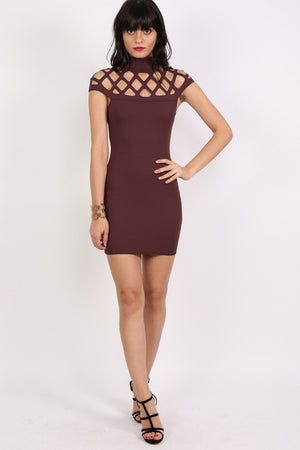 Caged Detail Bodycon Mini Dress in Purple 4